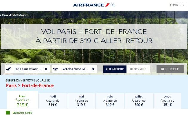 Air france webpage