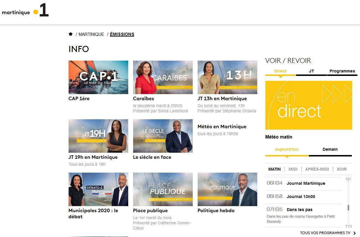 Martinique 1ère - programmes TV télévision