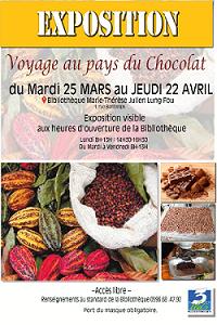 Voyage au pays du chocolat 25 mars au 22 avril bibliotheque martinique